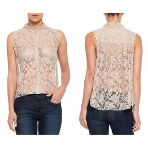 Joe's Jeans Sheer Lace Blouse Top S